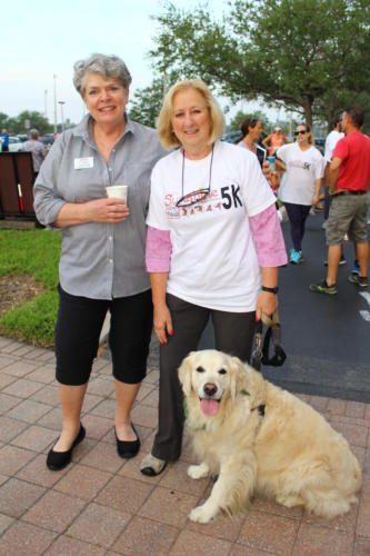 Jane Billings, Pam Storrar with Holly the dog